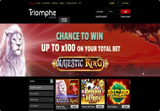 Casino Triomphe front page screenshot