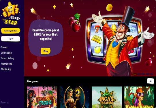 Crazy Star Casino screenshot of home screen