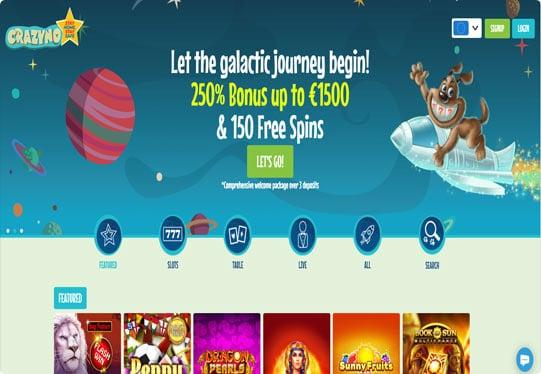 Crazyno Casino home page screenshot