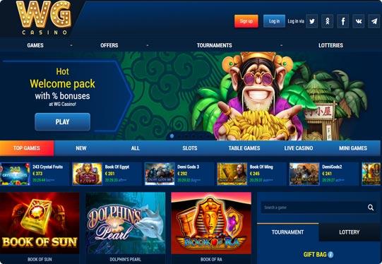 Screenshot of WG Casino homepage
